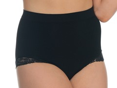 Lace Trim Brief Shaper, Black