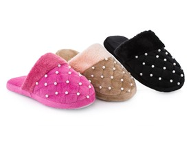 Beaded Pearl Accent Slippers - 3 Colors