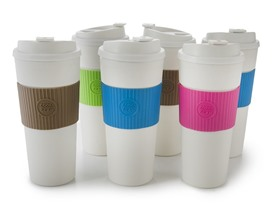 Banded Coffee Travel Mugs 19 oz. Set of 6