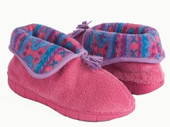 Flower Fairisle Bootie Slipper, Pink