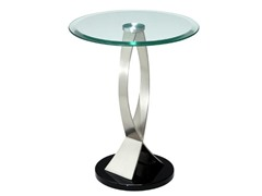 Round Shape Tempered Glass Top End Table