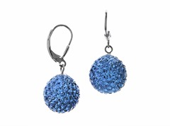 SS Blue Crystal Ball Earrings