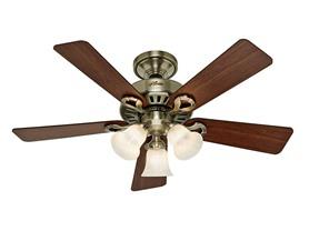 """Hunter Ceiling Fan 44"""" Antique Brass"""