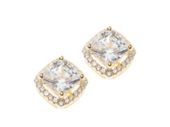 Sterling Sivler, Square CZ Halo Earring, Large, Yellow