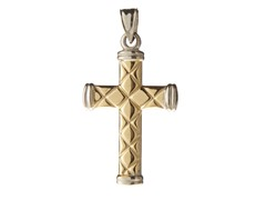 14kt Two Tone Pattern Cross, 1.25""