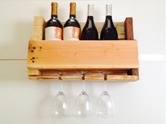 4 Bottle Natural Reclaimed Wooden Wine Rack