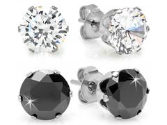 Set of 2 Stud Earrings w/ Sim. Diamonds