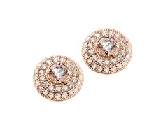 Sterling Silver CZ Halo Earring, Pink