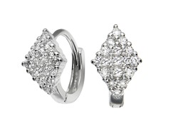 Sterling Silver Simulated Diamond Marquise Huggies