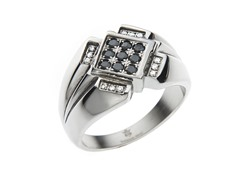 Steel 12 Point Ring w/ Black & White CZ