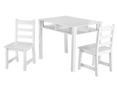 3-Piece Table and Chair Set - White