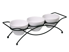 3 Serving Bowls on Rack