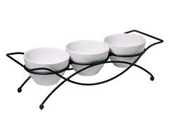 3 Serving Bowls on Rack