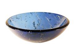 Blue Marble Glass Vessel Sink