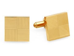 18kt Gold Plated Cufflinks w/ Lines