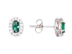 SS Emerald Sapphire CZ Oval Stud Earrings