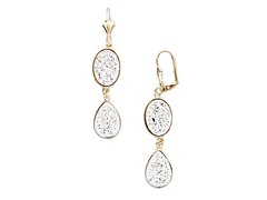 Silver Druzy Crystal Oval Teardrop Earrings