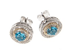 Silver & 14k Gold Blue Topaz Earrings
