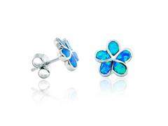 SS Blue Opal Plumeria Flower Earring