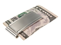 Brushed & Polished SS Engravable Id Money Clip