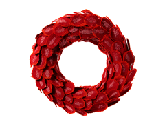 Red Burlap Wreath 22""