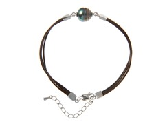 Tahitian Pearl w/ Leather Bracelet