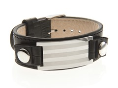 Black Leather Triple Stripe Bracelet