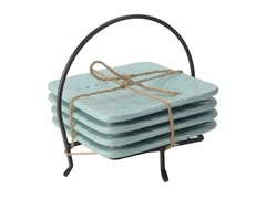 Sorrento Square Plates in Caddy Aqua