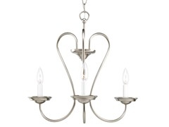 3-Light Chandelier, Brushed Nickel