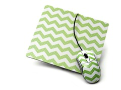 Lime Chevron Mousepad Set