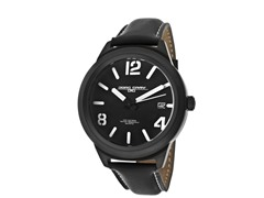 Men's Black Dial Black Leather Watch