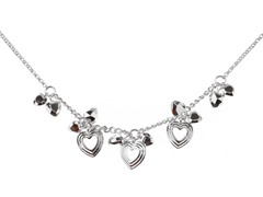 Relic RJ1745040 Silver Necklace with Heart Shaped Charms