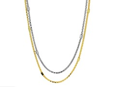 18k Plated 2-Tone Squarebox Necklace