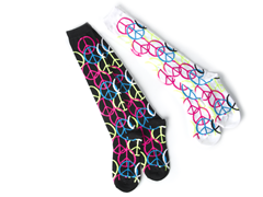 Black & White Peace Knee Socks (2 pair)