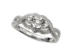 Sterling Silver and Diamond Heart Ring