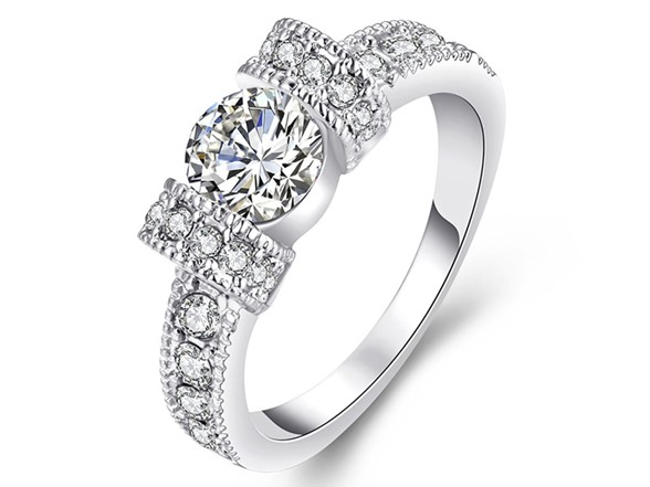 white gold princess crown pave ring fashion