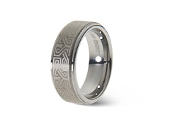Tungsten Bali Design Beveled Ring