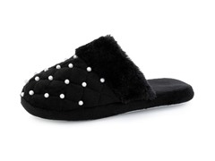 Women's Beaded Pearl Accent Slippers,Blk