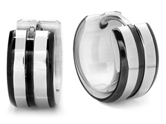 Black IP Line 10mm Huggie Earrings