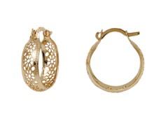 Gold Flower Cut-Out Hoop Earrings