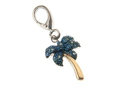 14Kt Gold, SS, Onyx, Diamond Palm Tree Charm