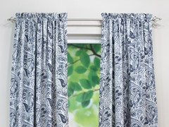 Paisley Rod Pocket Curtain Panel - Blue - 3 Lengths