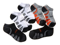 6pk Boys Socks - Blk/Wht/Orange (5-11)