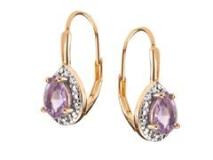 18K Gold SS Amethyst Gemstone w/Diamond Leverback Earrings