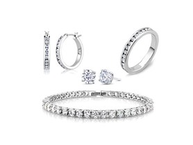 Beverly Hills Silver White Gold Eternity Jewelry Set