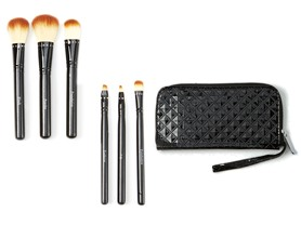 6-Pc Travel Make-Up Brush Set w/Wristlet Case
