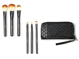 6-Pc Travel Make-Up Brush Set w/Wristlet Case