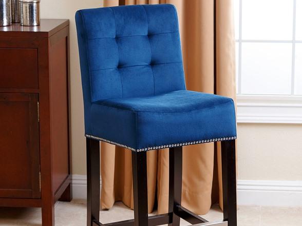 Kayla Velvet Bar Stool Sapphire Blue