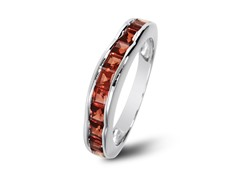 SS Square Cut Garnet Wave Band
