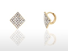 White Swarovski Elements Diamond Huggie Earrings